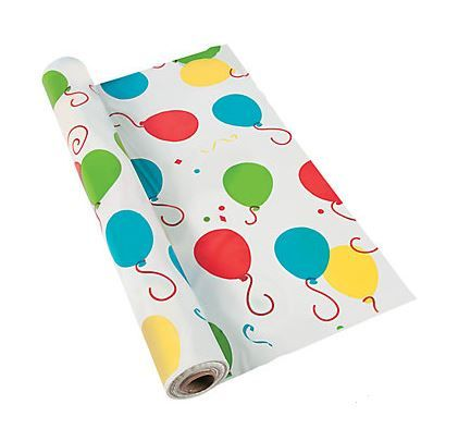 Balloon Tablecover Roll (Plastic).  Cut your tablecover lengths as needed or use as a backdrop! SIZE: 1.02m x 30.5m approx; plastic  Price is per Table Cover Roll - (Enough to make 16 x 1.02m x 1.83m covers)