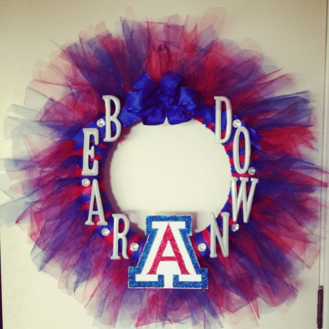 University of Arizona tulle wreath! BearDown definitely have to do this for wvu and steelers!