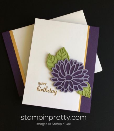 Simply & pretty Stylish Stems Framelits Dies birthday card. Mary Fish, Stampin' Up! Demonstrator. 1000+ StampinUp & SUO card ideas. Read more https://stampinpretty.com/2017/03/stylish-stems-birthday-card-idea.html