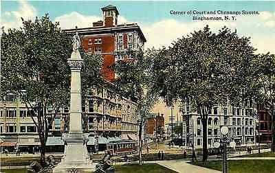 Binghamton New York NY 1915 Corner Court Chenango Streets Soldiers' Monument