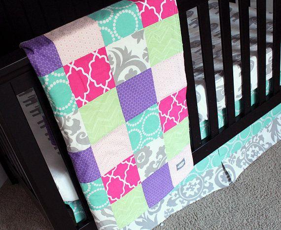 think i found our nursery bedding custom purple pink