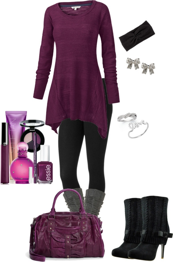 """""""purple tunic with leggings"""" by kar3n17xoxo ❤ liked on Polyvore"""