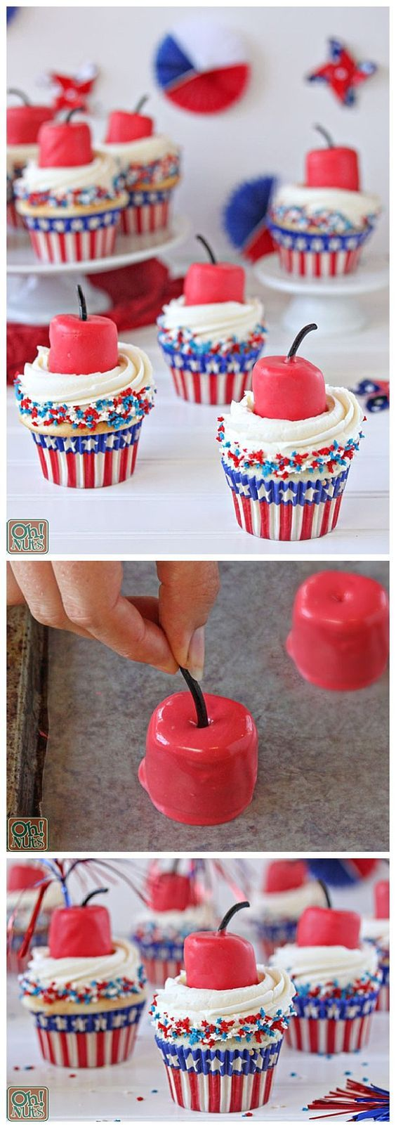 Do it Yourself 4th of July - Firecracker Cupcakes Recipe and Tutorial - The perfect dessert treat for Independence Day Cookouts and Parties! via Oh Nuts