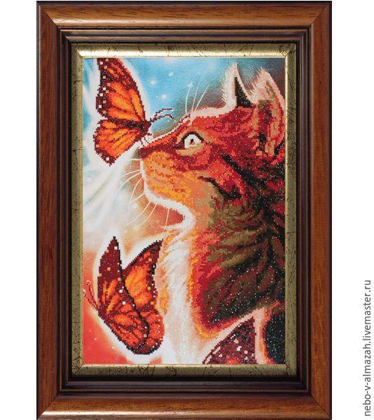Купить Алмазная вышивка «Кошка с бабочками», 40x60 см - алмазная вышивка, алмазная мозаика
