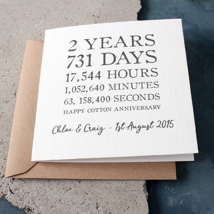 Gifts For A Second Wedding: Personalised Time Card - Cotton 2nd Anniversary