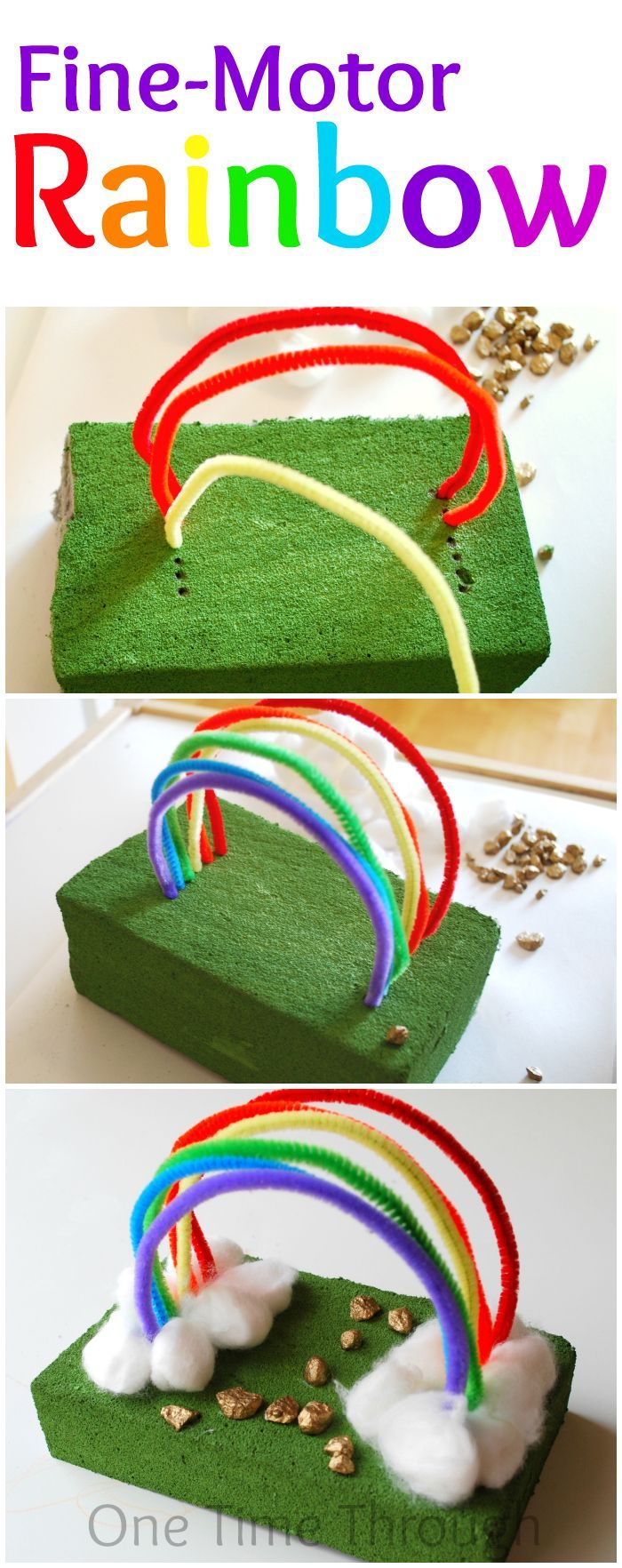 An adorable rainbow craft that works your child's fine-motor skills. Perfect for Spring or #StPatricksDay {One Time Through}