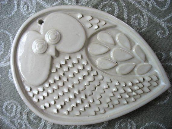 Owl Wall Art MidCentury Modern Ceramic door BitchinKitschKitchen, $30,00