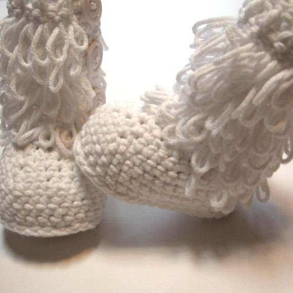 Loopy baby booties. White crochet baby booties. Size 0 to ...