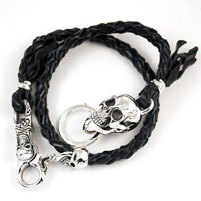 """WALLET CHAIN LARGE SKULL STERLING SILVER 925 & LEATHER ROPE 23""""L"""