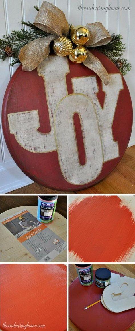 DIY Rustic Joy Sign for Holiday Wall Decor.