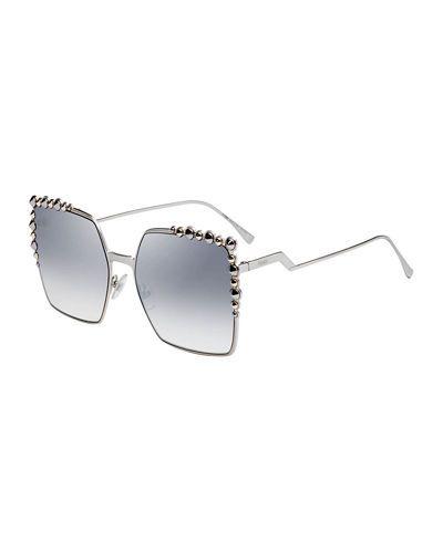 23592ba0f6abf D2Y00 Fendi Can Eye Studded Oversized Square Sunglasses