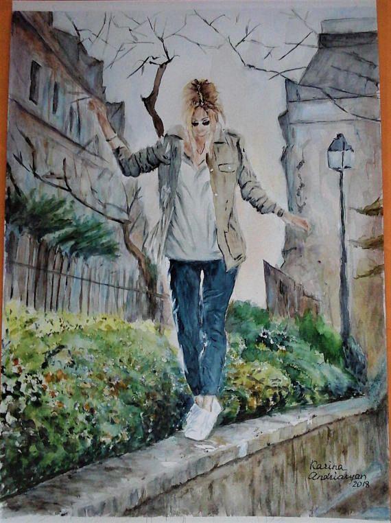 Original Painting Watercolor Urban Painting City Street Art