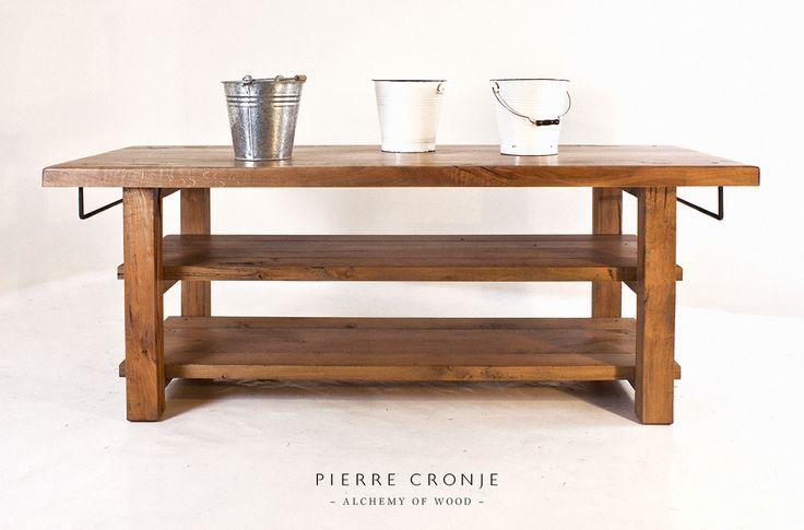 A Pierre Cronje Loft Kitchen Island with Towel Rails in French Oak & Hard Pear