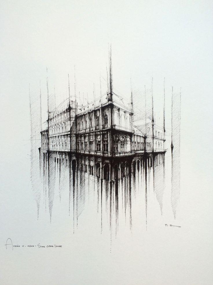 OPERA HOUSE - VIENNA  Drawing on paper, 50cmx50cm, ink  © Pavel Filgas 2016