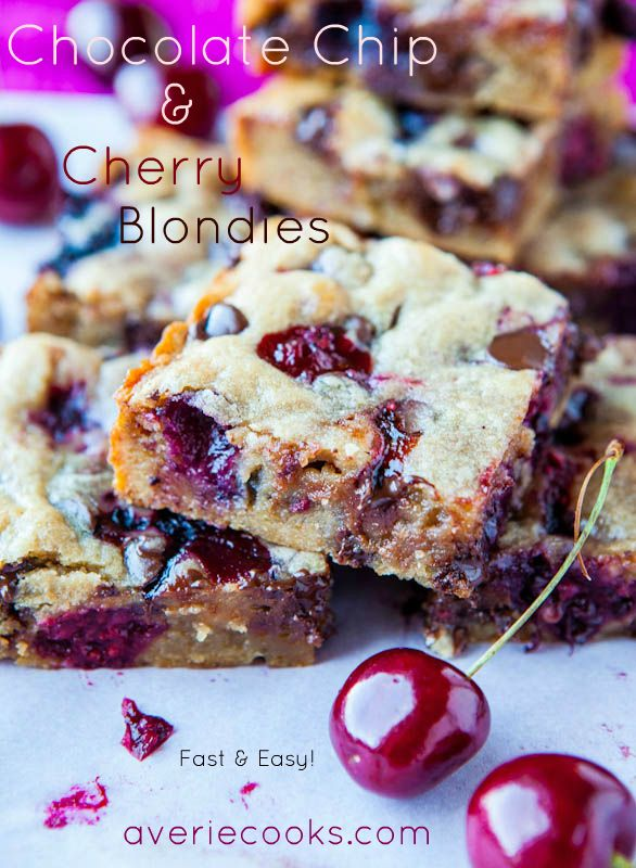 Chocolate Chip & Cherry Blondies. Make the batter in less than 5 mins - No mixer needed. Juicy seasonal fruit never tasted so good & gooey