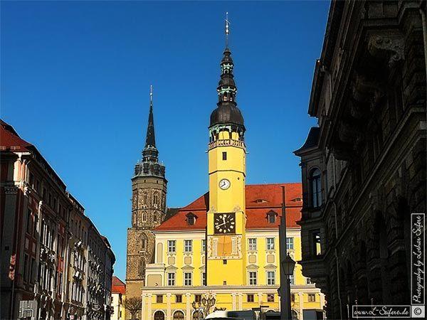 Bautzen, das Rathaus und der Turm vom Dom St. Petri. Bautzen. Bilder und Grusskarten, Pictures and Greeting cards