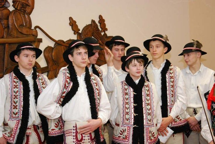 Embroidery motif on the vests: folk costume of Zagórzanie (inhabitants of the region around the town of Mszana Dolna), Poland.