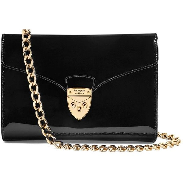 Aspinal of London Manhattan Leather Clutch Bag (€395) ❤ liked on Polyvore featuring bags, handbags, clutches, purses, hand bags, leather hand bags, 100 leather handbags, chain strap purse and real leather purses