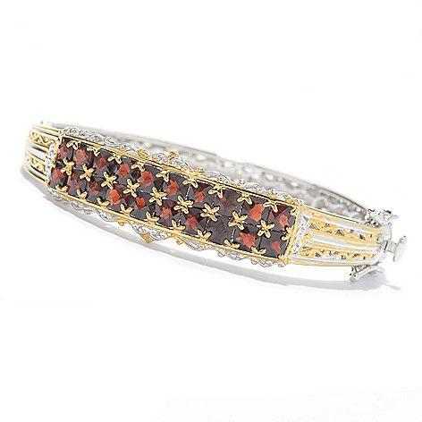 """163-226 - Gems en Vogue Final Cut 6.5"""" or 7.25"""" 8.00ctw Mozambique Garnet 2-Row Hinged Bangle Bracelet"""