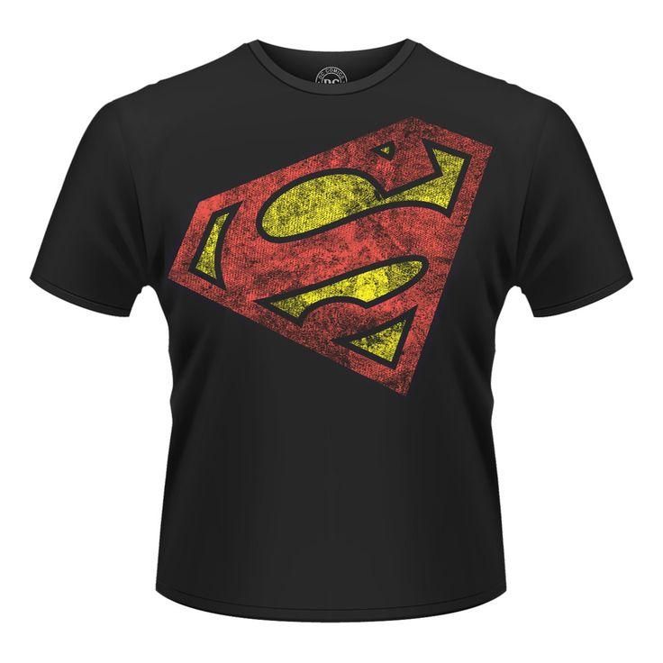Tee-Shirt Noir Logo Rouge Diagonale Superman