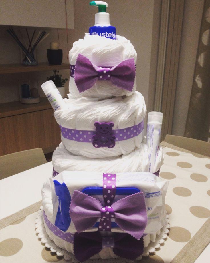 #diaperscake #tortapannolini pillo #mustela #babyshower #cake # torta