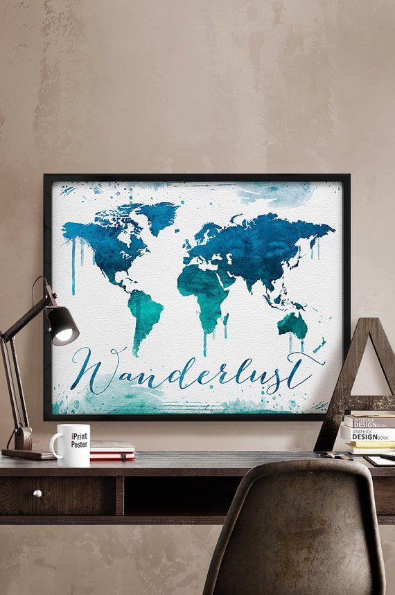 Wanderlust, travel print, large world map, watercolor map, world map poster, travel map, travel art, wall art, Home Decor, iPrintPoster.