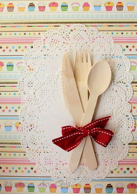 30 pcs total - 10 Sets of Wooden Cutlery- 10 of each: Forks, Spoons and Knives - Eco-Friendly Biodegradable Disposable