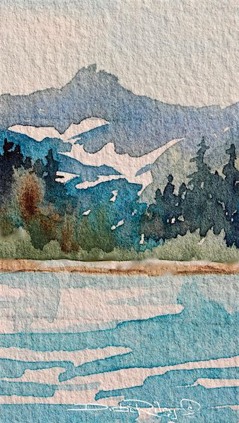 July's Mountain. A cool and refreshing watercolor landscape. Can you feel the crisp feel to the air? The bite of the snow fed waters? I did! A High mountain of the Olympic ranges. The stand o…