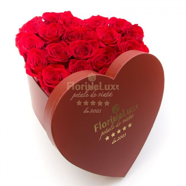 Heart box with red roses - give your heart forever just to her! Order online the most amazing red roses in our deluxe heart shape box, burgundy red. We deliver anywhere in Romania!