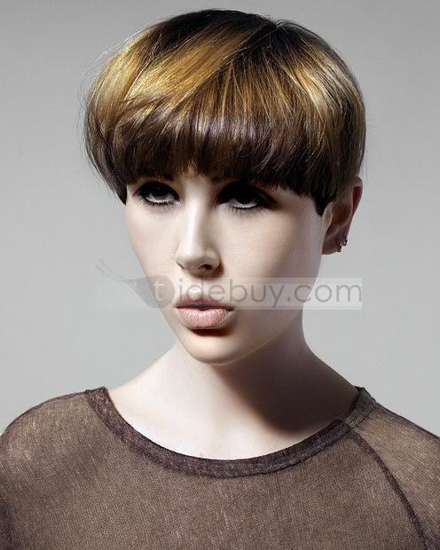 高質なスペシャルデザイン着心地良いショートストレートストロベリーブロンド&ブラウンミックスウィッグ100%人毛