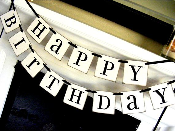 Happy Birthday Banner in Black and White Sign Party by Studio1621, $22.00