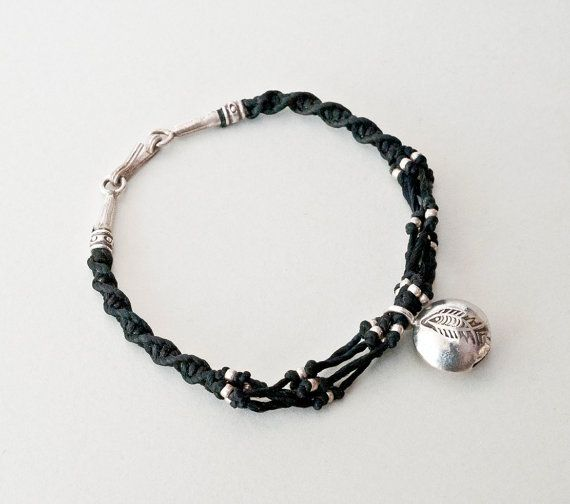 Black Friendship Charm Bracelet Sterling Silver by PiscesAndFishes