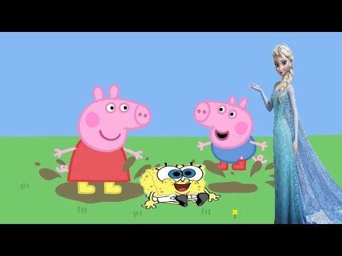 Princesa Elsa Queen Bob esponja calça quadrada George pig Desenhando e c... Peppa  Pig Em PortuguêsPorquinha ...