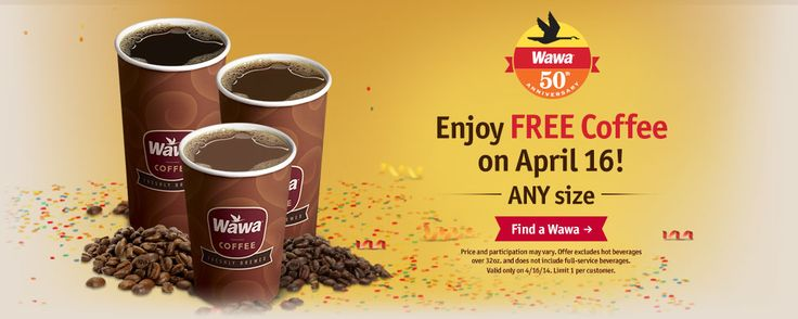 Pinned April 13th: Coffee is free #Wednesday at Wawa gas stations #coupon via The Coupons App