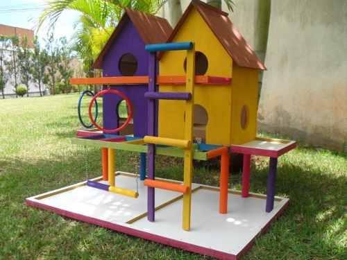 Casinha Playground & Brinquedo Para Calopsitas