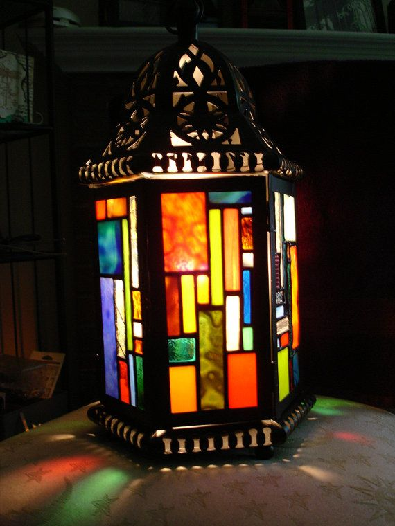 Lamp with Stained Glass Patchwork Design by ehamiltonglass on Etsy, $300.00