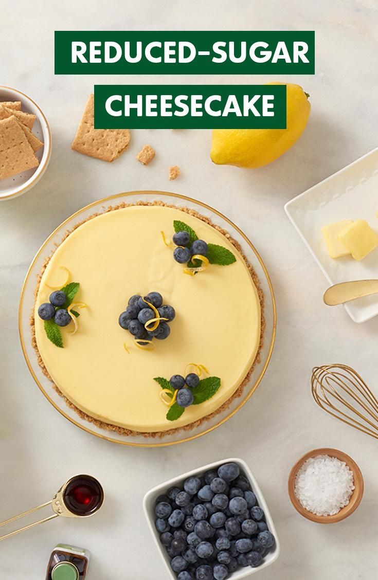 Everyone craves a recipe that's as easy as cake. Whip up this reduced-sugar cheesecake recipe made with Truvia Natural Sweetener, cream cheese, lemon zest, lemon, salt and a few blueberries for garnish.