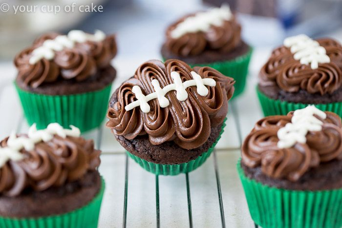 Easy Football Cupcakes with a video to show you how to decorate!