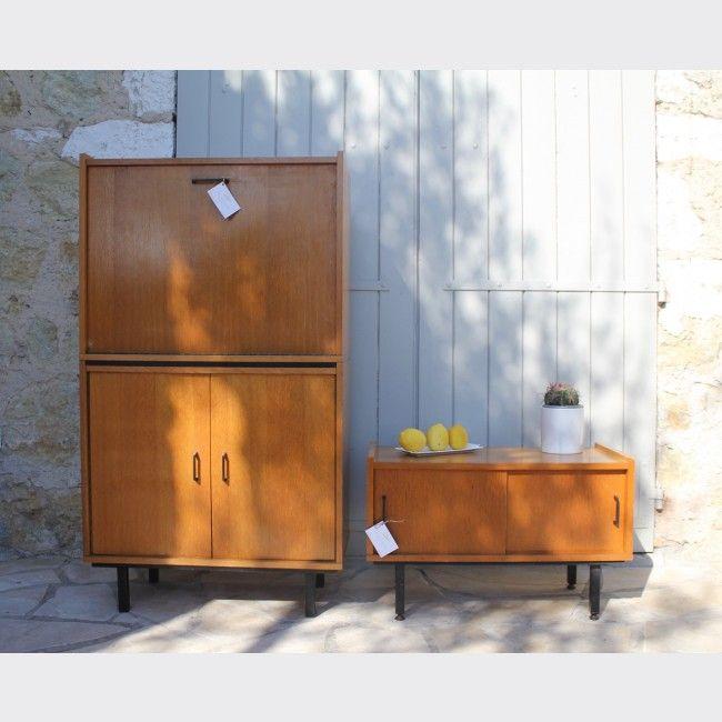 Petit meuble moderniste vintage - Bois - Transparent - Bon état - Vintage - 88729