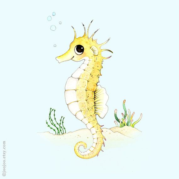 Ocean themed nursery, Seahorse print, Seahorse painting, Seahorse illustration, ocean nursery, S is for seahorse, sea nursery