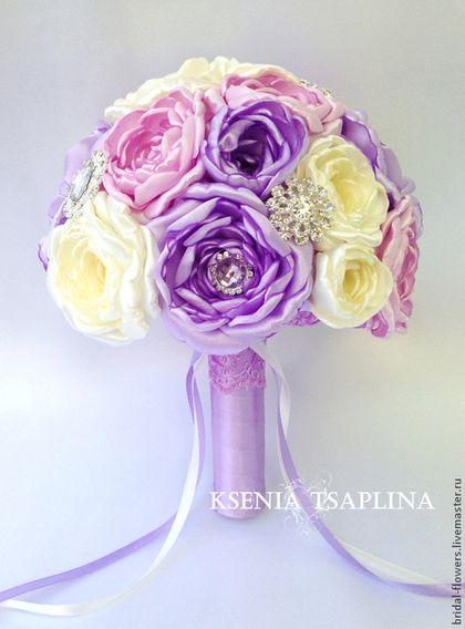 Свадебные цветы ручной работы. Ярмарка Мастеров - ручная работа Брошь букет невесты. Пионы. Handmade.