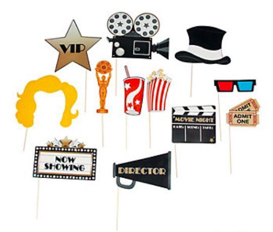 Paper Movie Night Photo Stick Props