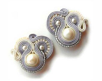 Bridal Earrings bridesmaid gift Soutache Earrings от AdityaDesign