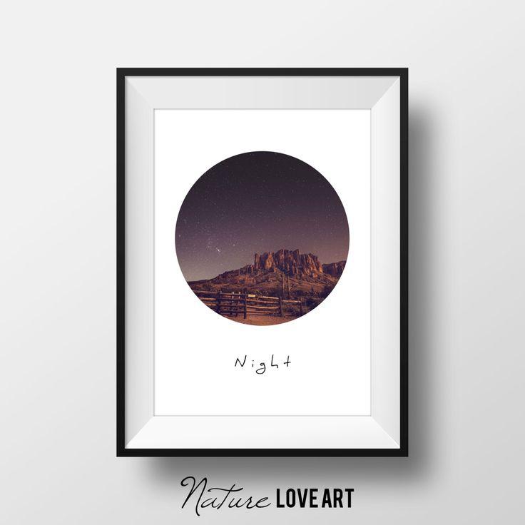 Poster nuit, ciel la nuit, voie lactée, photo nature, photo rochers, photo montagne, photo désert, décoration ranch, équitation, chevaux de la boutique NatureLoveArt sur Etsy