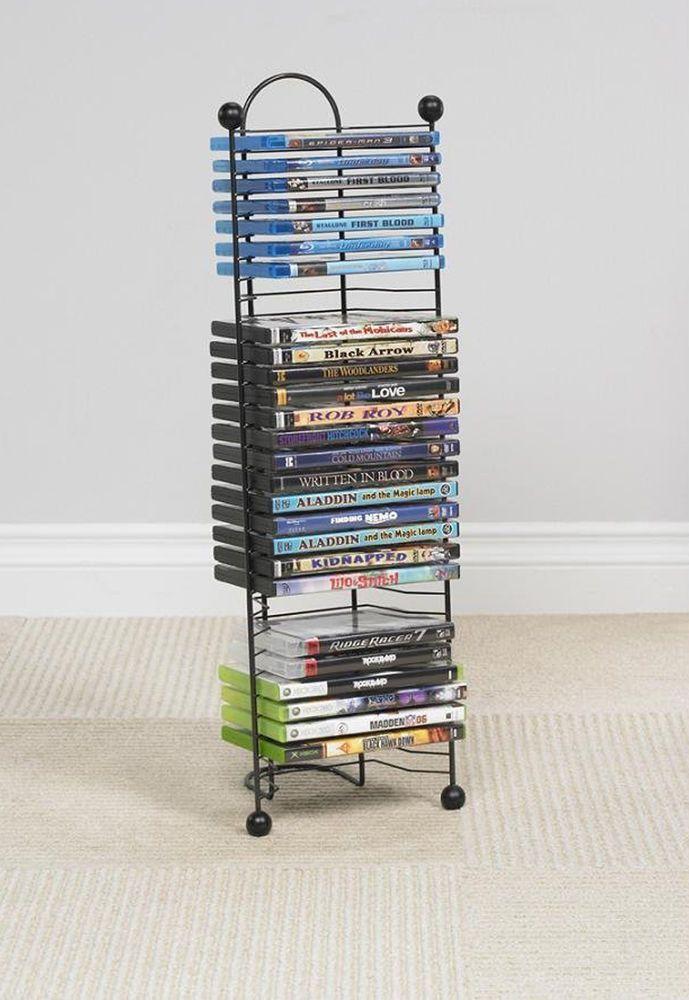 DVD Media Storage Tower Shelf CD Rack Organizer Stand Multimedia Games Holder #Atlantic