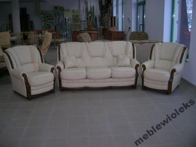 KANAPA SOFA Milano + 2 fotele 100% Skóra Producent