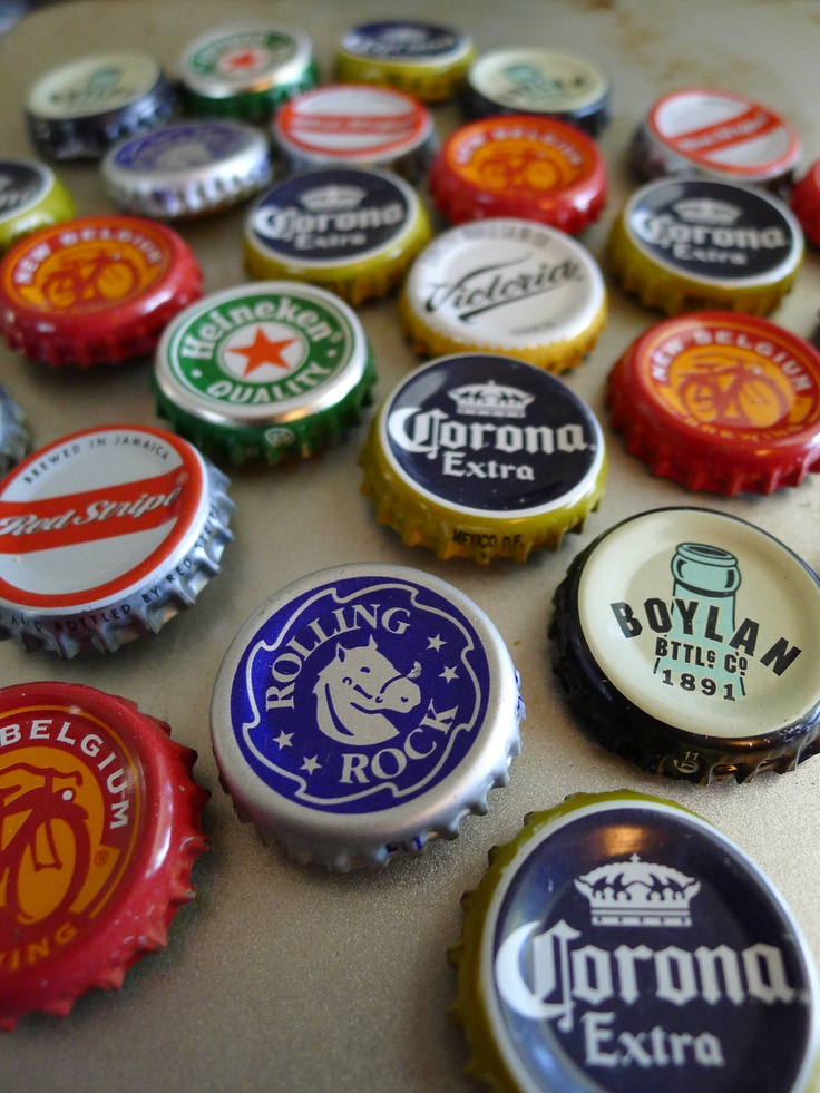 "Bottle Cap Fridge Magnets - ""The Caps"" - ONE PAIR (2 Magnets): Bottlecap, Bottle Cap"