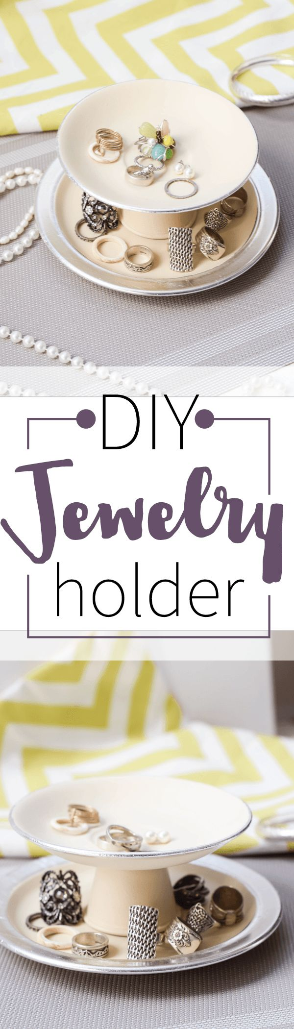 DIY jewelry holder - super easy and cheap to make. You won't believe what a bit of spray paint and 2 old saucers and a shot glass can do!