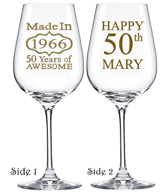 50th Birthday Glasses, Birthday Wine Glass, Gift ideas by PersonalizedGiftsUS