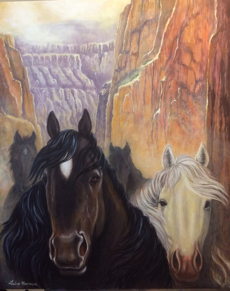 Horses. Acrylic on canvas. Artwork. Painting by Louise Moorman.